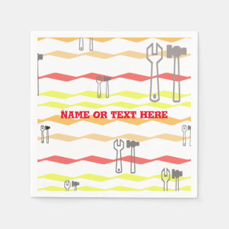 Wrench and hammer with zigzagged  lines paper napkin