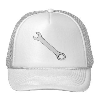 Wrench. Gray and Black. Spanner. Mesh Hat