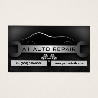 Wrench Mobile Mechanic Auto Repair Black Standard Business Card