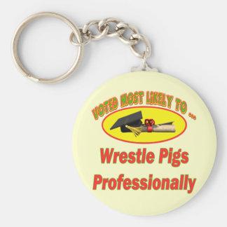 Wrestle Pigs Key Ring