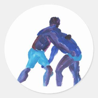 Wrestlers Blue Round Stickers
