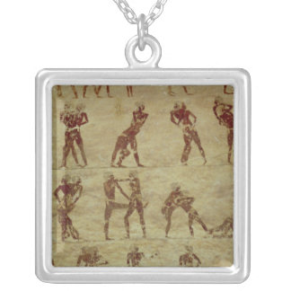 Wrestlers, detail from a tomb wall painting jewelry
