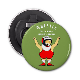 wrestling Christmas Bottle Opener