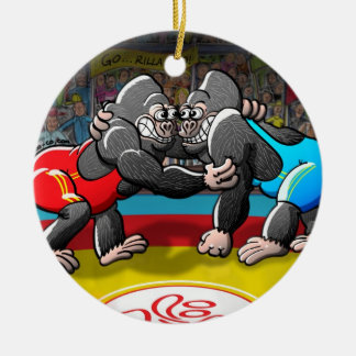 Wrestling Gorillas Ceramic Ornament