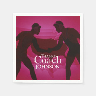 Wrestling Thanks Coach Silhouette Red Disposable Napkins