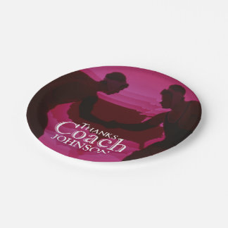 Wrestling Thanks Coach Silhouette Red Paper Plate