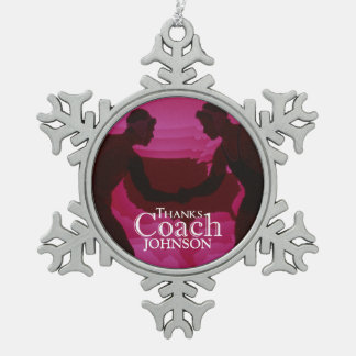 Wrestling Thanks Coach Silhouette Red Snowflake Pewter Christmas Ornament