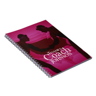 Wrestling Thanks Coach Silhouette Red Spiral Notebook