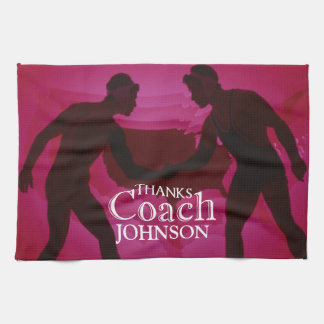Wrestling Thanks Coach Silhouette Red Tea Towel