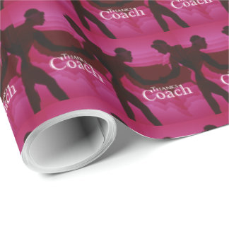 Wrestling Thanks Coach Silhouette Red Wrapping Paper