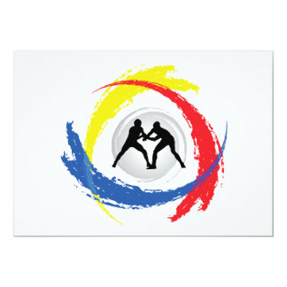 Wrestling Tricolor Emblem 13 Cm X 18 Cm Invitation Card