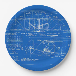 """Wright Bros. """"Flyer"""" Blueprint 1903 Paper Plate"""