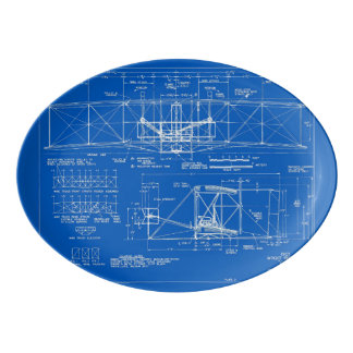 "Wright Bros. ""Flyer"" Blueprint 1903 Porcelain Serving Platter"