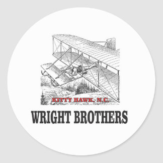 wright brother history classic round sticker