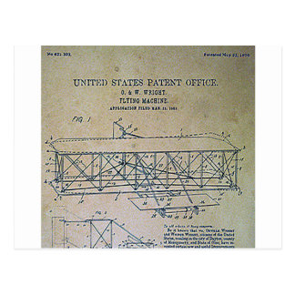 Wright Brothers Patent Design Postcard