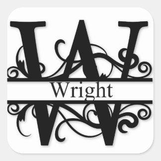 Wright Monogram Square Sticker