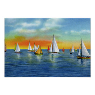 Wrightsville Beach North Carolina Sailing at Sunse Poster