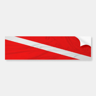 Wrinkled Diver Down Flag Bumper Stickers