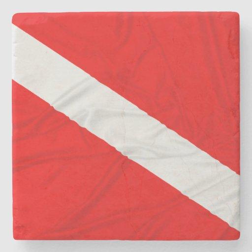 Wrinkled Diver Down Flag Stone Coaster