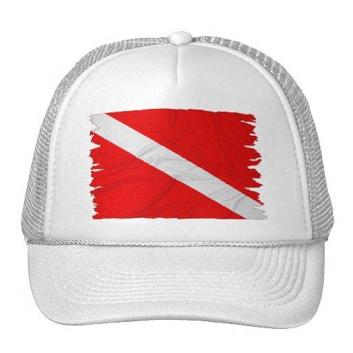 Wrinkled Diver Down Flag Hats