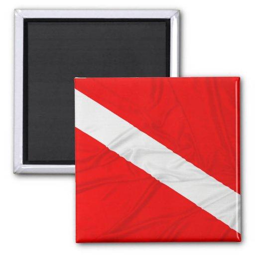 Wrinkled Diver Down Flag Fridge Magnets