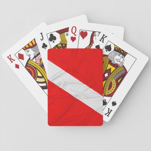 Wrinkled Diver Down Flag Poker Cards