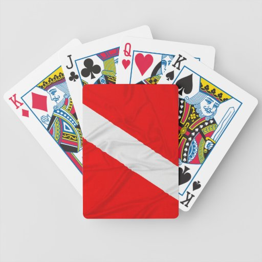 Wrinkled Diver Down Flag Bicycle Poker Cards