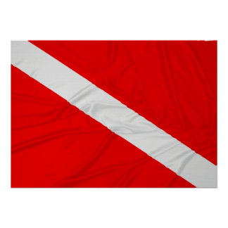 Wrinkled Diver Down Flag Posters