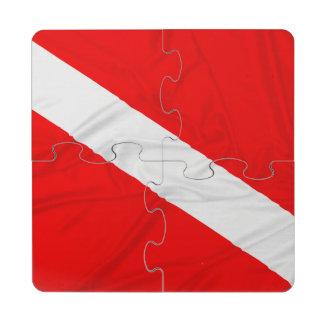 Wrinkled Diver Down Flag Puzzle Coaster