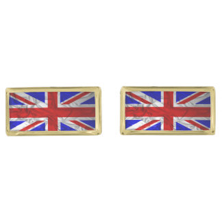 Wrinkled Union Jack Flag Gold Finish Cufflinks