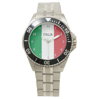 Wrist watch for men with flag of Italy
