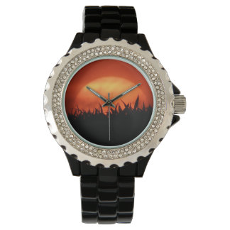 Wrist watch red sundown