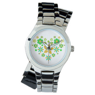 Wrist-watch with blumigem heart watch