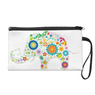 wristlet, elephant, flowers, floral, colorful wristlet