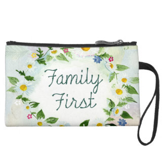 wristlet or makeup bag family first flowers