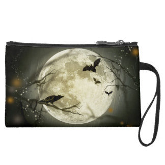 wristlet or makeup bag  Halloween moon bat autumn