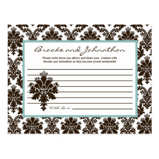 Writable Advice Card Brown Damask Lace Postcard