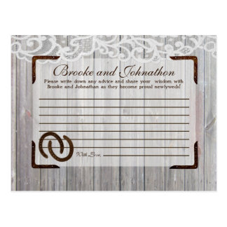 Writable Advice Card Horse Shoes on Wood Lace Postcard
