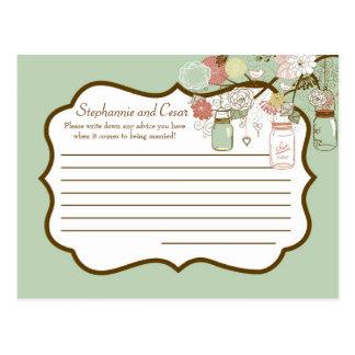 Writable Advice Card Spring Floral Mason Jars