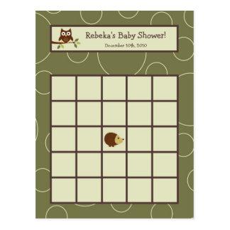 Writable Bingo Card Forrest Animal Owl Deer Bird Postcard