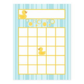 Writable Bingo Card Rubber Ducky Bubbles Postcards