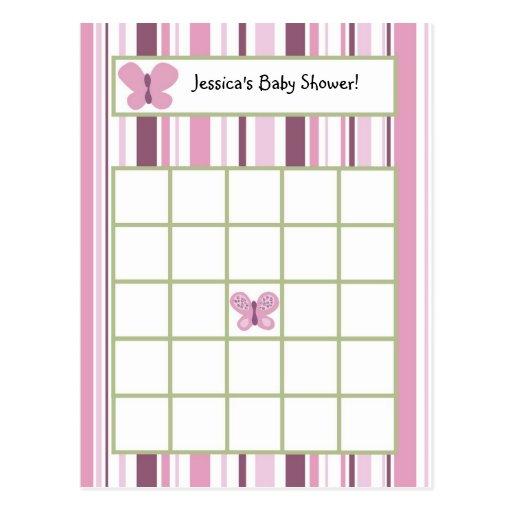 Writable Bingo Card Sugar Plum Butterfly Postcard