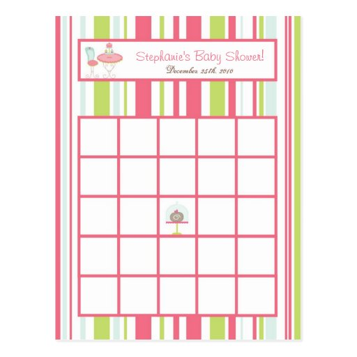 Writable Bingo Card Tea Party Pink Pastel Flowers Postcards