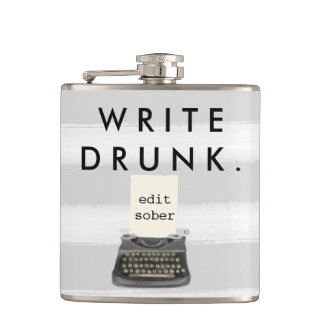 Write Drunk Edit Sober Typewriter on Gray Stripes Hip Flask