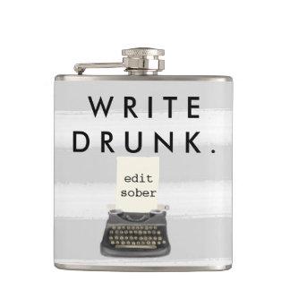 Write Drunk Edit Sober Typewriter on Gray Stripes Hip Flasks
