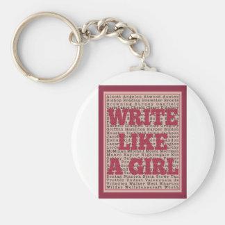 Write Like a Girl Lipstick Basic Round Button Key Ring