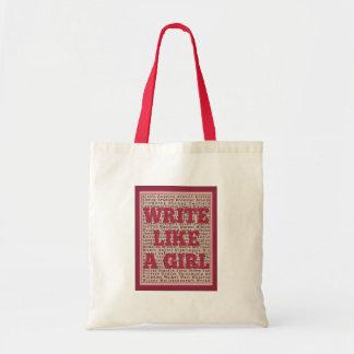 Write Like a Girl Lipstick Budget Tote Bag