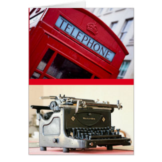 Write or Call Soon! Vintage phone and typewriter Card