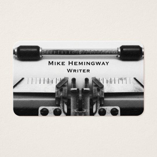 Writer And Journalist Typewriter Design Business Card