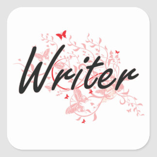 Writer Artistic Job Design with Butterflies Square Sticker